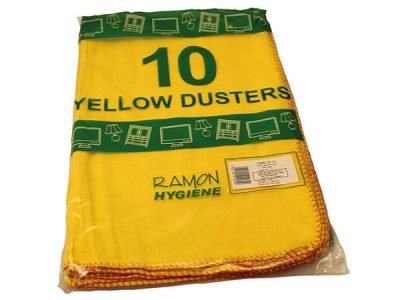 Using The Standard Quality Yellow Dusters For Cleaning And Polishing Surfaces